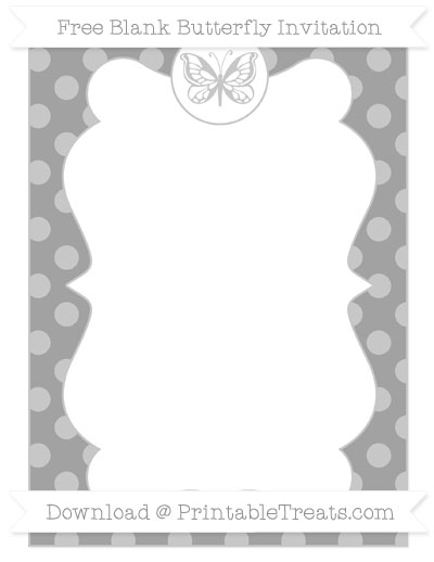 Free Pastel Grey Dotted Pattern Blank Butterfly Invitation