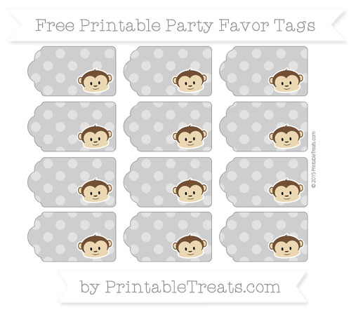 Free Pastel Grey Dotted Pattern Boy Monkey Party Favor Tags