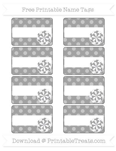 Free Pastel Grey Dotted Pattern Cheer Pom Pom Tags