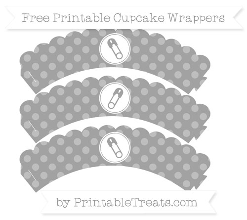 Free Pastel Grey Dotted Pattern Diaper Pin Scalloped Cupcake Wrappers
