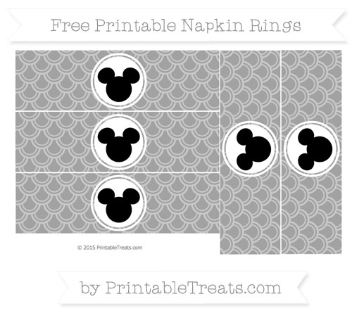 Free Pastel Grey Fish Scale Pattern Mickey Mouse Napkin Rings