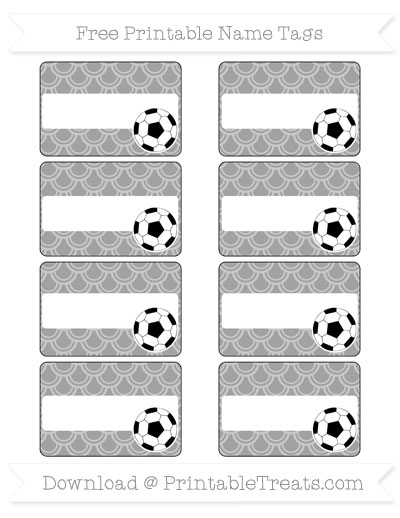 Free Pastel Grey Fish Scale Pattern Soccer Name Tags