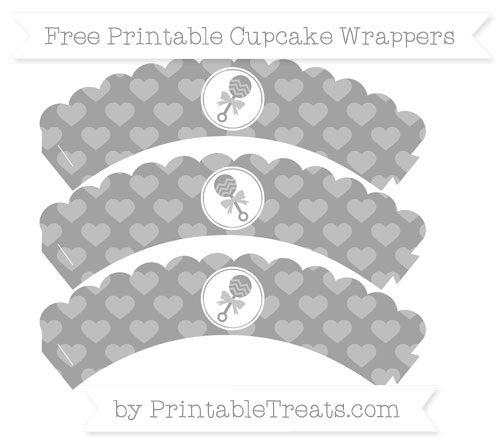 Free Pastel Grey Heart Pattern Baby Rattle Scalloped Cupcake Wrappers