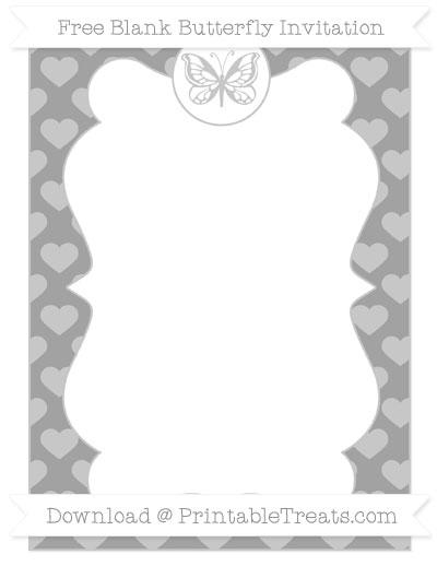 Free Pastel Grey Heart Pattern Blank Butterfly Invitation