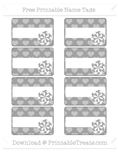 Free Pastel Grey Heart Pattern Cheer Pom Pom Tags