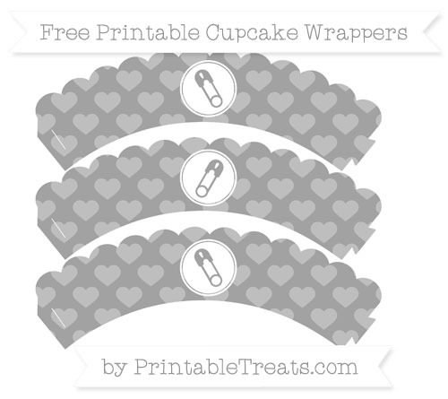 Free Pastel Grey Heart Pattern Diaper Pin Scalloped Cupcake Wrappers