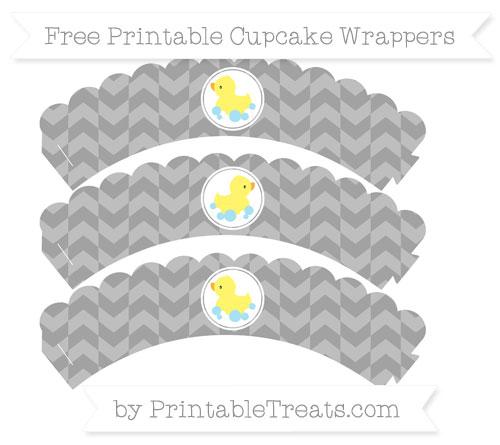 Free Pastel Grey Herringbone Pattern Baby Duck Scalloped Cupcake Wrappers