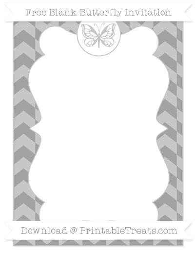 Free Pastel Grey Herringbone Pattern Blank Butterfly Invitation