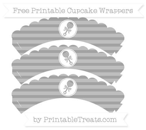 Free Pastel Grey Horizontal Striped Baby Rattle Scalloped Cupcake Wrappers