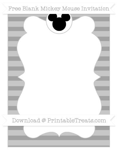Free Pastel Grey Horizontal Striped Blank Mickey Mouse Invitation
