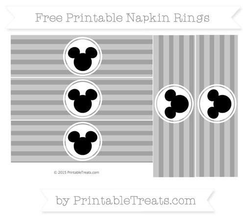 Free Pastel Grey Horizontal Striped Mickey Mouse Napkin Rings