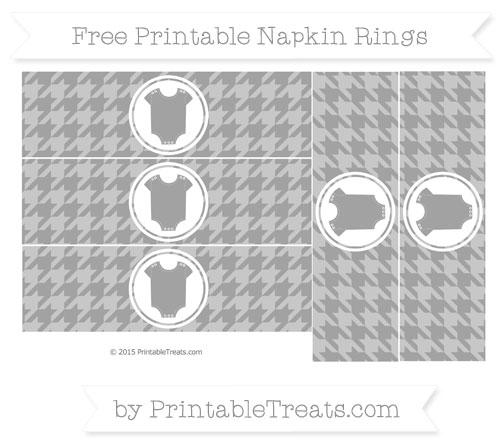 Free Pastel Grey Houndstooth Pattern Baby Onesie Napkin Rings