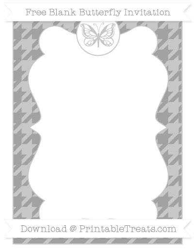 Free Pastel Grey Houndstooth Pattern Blank Butterfly Invitation