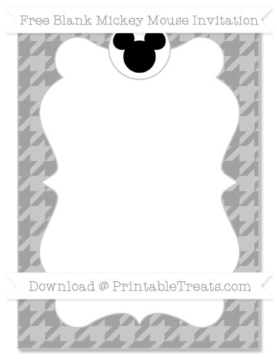 Free Pastel Grey Houndstooth Pattern Blank Mickey Mouse Invitation