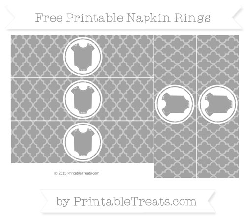 Free Pastel Grey Moroccan Tile Baby Onesie Napkin Rings