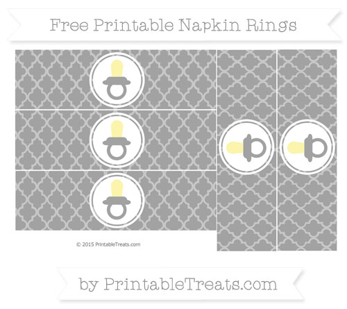 Free Pastel Grey Moroccan Tile Baby Pacifier Napkin Rings