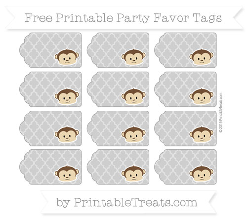 Free Pastel Grey Moroccan Tile Boy Monkey Party Favor Tags