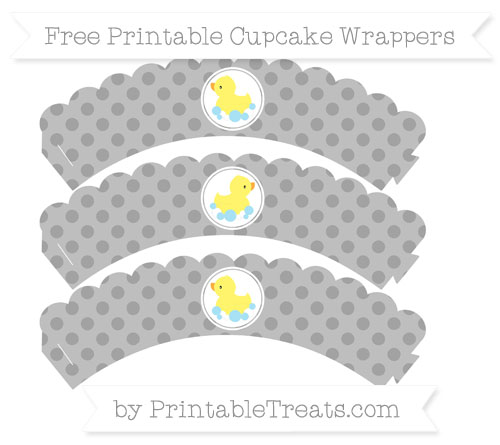Free Pastel Grey Polka Dot Baby Duck Scalloped Cupcake Wrappers