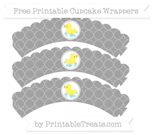 Free Pastel Grey Quatrefoil Pattern Baby Duck Scalloped Cupcake Wrappers