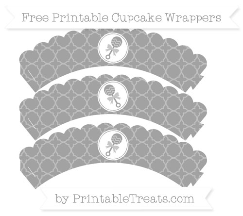 Free Pastel Grey Quatrefoil Pattern Baby Rattle Scalloped Cupcake Wrappers