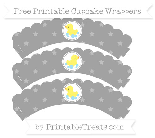 Free Pastel Grey Star Pattern Baby Duck Scalloped Cupcake Wrappers
