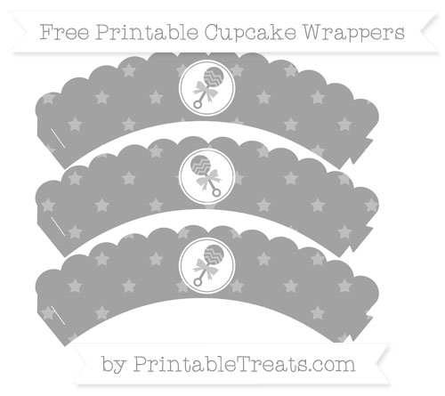 Free Pastel Grey Star Pattern Baby Rattle Scalloped Cupcake Wrappers