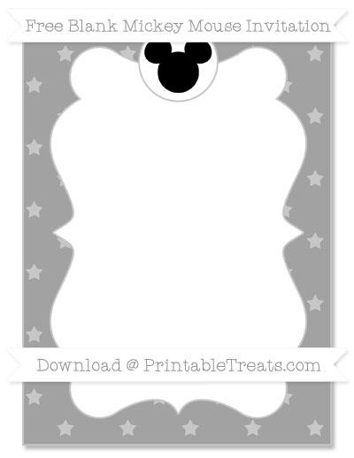 Free Pastel Grey Star Pattern Blank Mickey Mouse Invitation