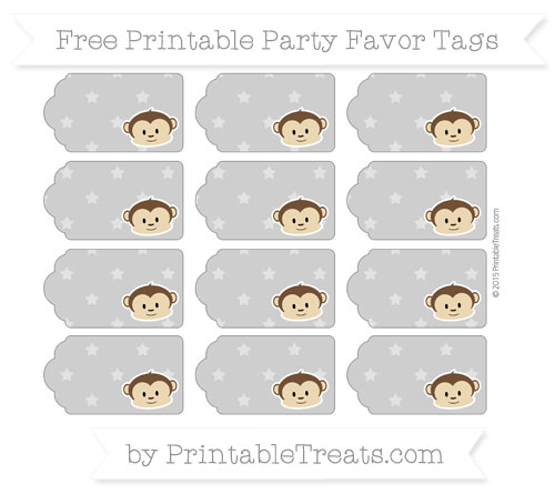 Free Pastel Grey Star Pattern Boy Monkey Party Favor Tags
