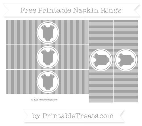 Free Pastel Grey Striped Baby Onesie Napkin Rings