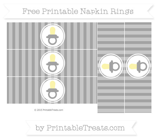 Free Pastel Grey Striped Baby Pacifier Napkin Rings