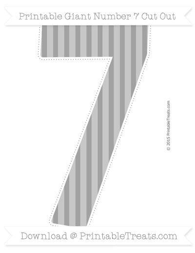 Free Pastel Grey Striped Giant Number 7 Cut Out