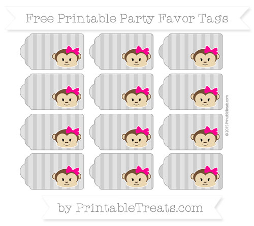 Free Pastel Grey Striped Girl Monkey Party Favor Tags