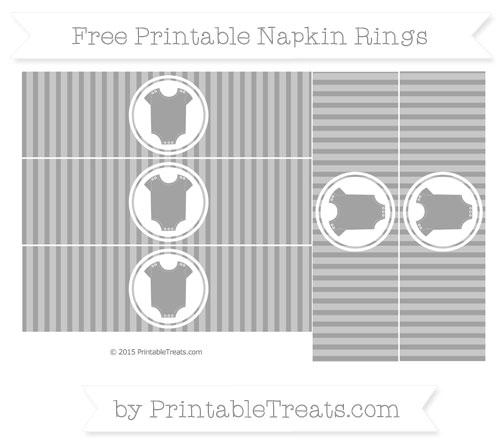 Free Pastel Grey Thin Striped Pattern Baby Onesie Napkin Rings