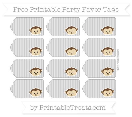 Free Pastel Grey Thin Striped Pattern Boy Monkey Party Favor Tags