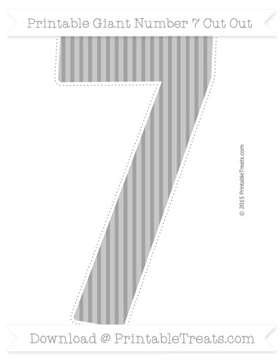 Free Pastel Grey Thin Striped Pattern Giant Number 7 Cut Out