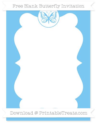 Free Pastel Light Blue Blank Butterfly Invitation