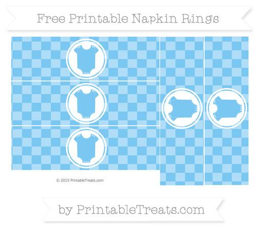 Free Pastel Light Blue Checker Pattern Baby Onesie Napkin Rings