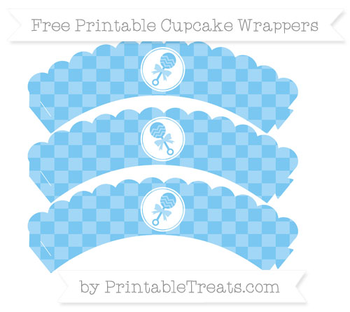 Free Pastel Light Blue Checker Pattern Baby Rattle Scalloped Cupcake Wrappers