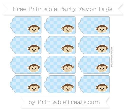 Free Pastel Light Blue Checker Pattern Boy Monkey Party Favor Tags