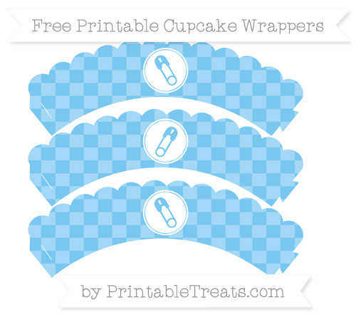 Free Pastel Light Blue Checker Pattern Diaper Pin Scalloped Cupcake Wrappers
