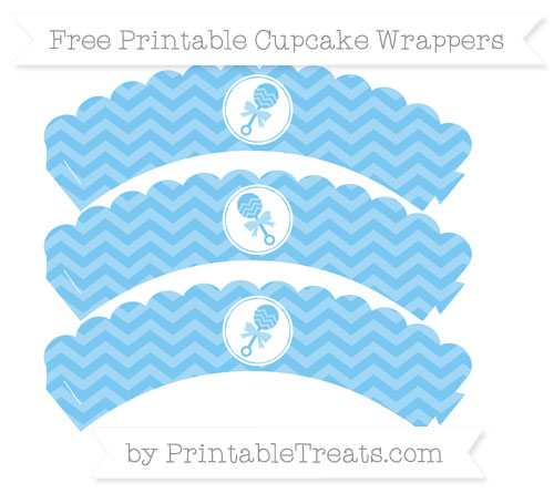 Free Pastel Light Blue Chevron Baby Rattle Scalloped Cupcake Wrappers