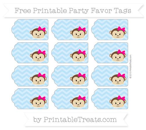 Free Pastel Light Blue Chevron Girl Monkey Party Favor Tags