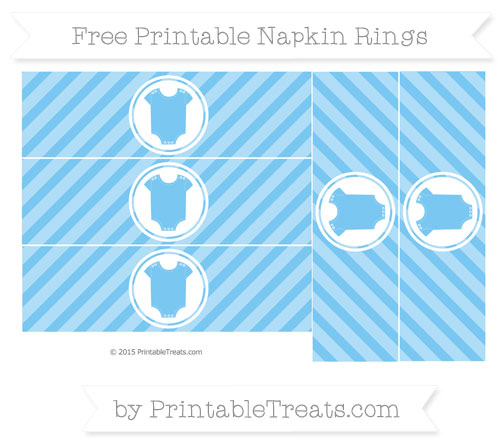Free Pastel Light Blue Diagonal Striped Baby Onesie Napkin Rings