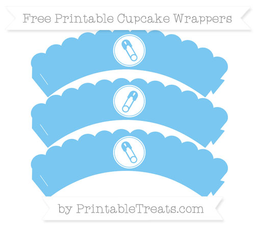 Free Pastel Light Blue Diaper Pin Scalloped Cupcake Wrappers
