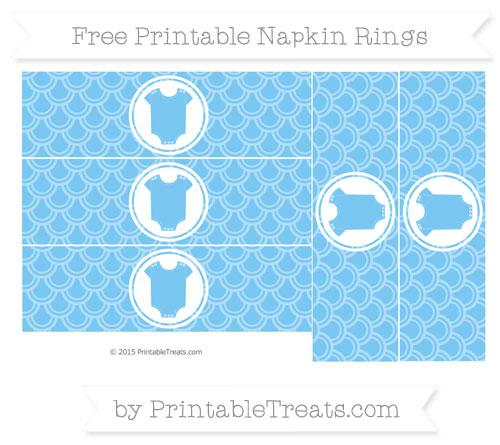 Free Pastel Light Blue Fish Scale Pattern Baby Onesie Napkin Rings