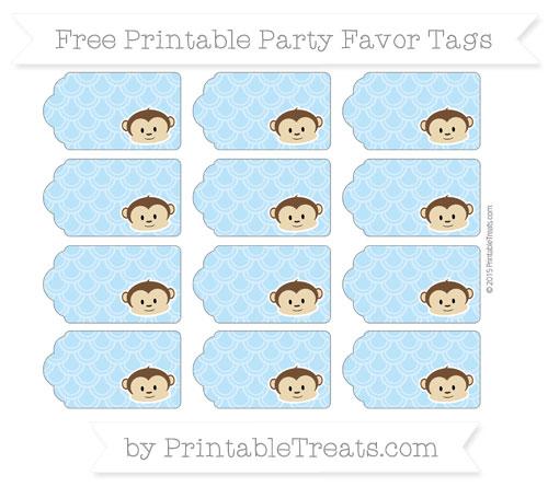 Free Pastel Light Blue Fish Scale Pattern Boy Monkey Party Favor Tags