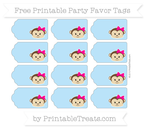 Free Pastel Light Blue Girl Monkey Party Favor Tags