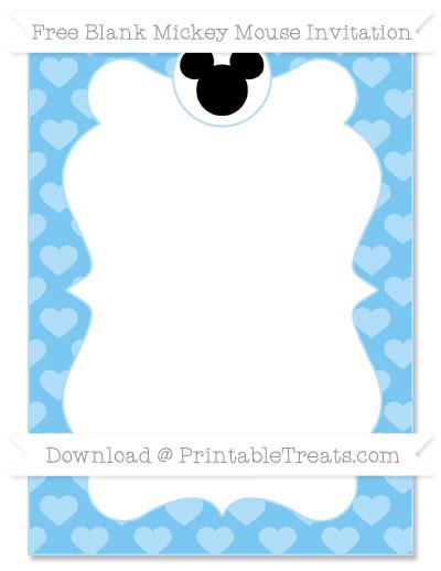 Free Pastel Light Blue Heart Pattern Blank Mickey Mouse Invitation
