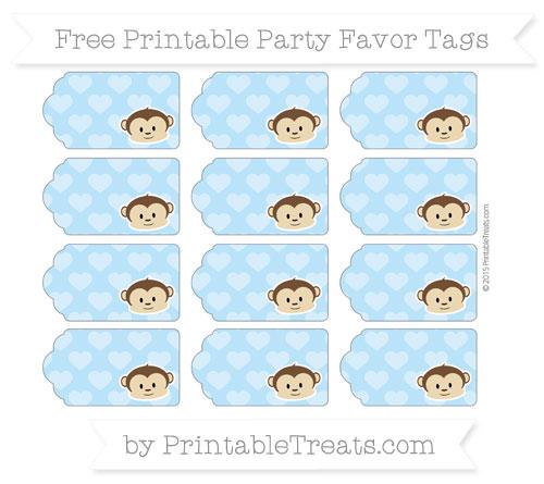 Free Pastel Light Blue Heart Pattern Boy Monkey Party Favor Tags