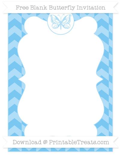 Free Pastel Light Blue Herringbone Pattern Blank Butterfly Invitation